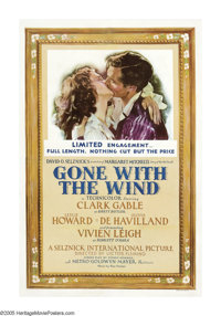 "Gone With the Wind (MGM, 1940-41). One Sheet (27"" X 41""). Clark Gable and Vivien Leigh star in one of the most..."