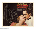 "Movie Posters:Fantasy, Death Takes a Holiday (Paramount, 1934). Half Sheet (22"" X 28"").Frederic March stars as the Grim Reaper and decides to take..."