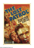 "Movie Posters:Adventure, The Lost Patrol (RKO, 1934) One Sheet (27"" X 41""). PhilipMacDonald's novel ""Patrol"" first found a home on the silverscreen..."