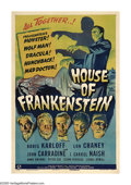 "Movie Posters:Horror, House of Frankenstein (Universal, 1944). One Sheet (27"" X 41""). Notonly does this film bring together the pantheon of class..."
