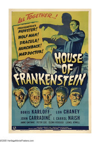 "House of Frankenstein (Universal, 1944). One Sheet (27"" X 41""). Not only does this film bring together the pan..."