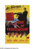 "Movie Posters:Horror, House of Frankenstein (Realart, R-1950). One Sheet (27"" X 41"").""They did the mash, they did the monster mash!"" O.K., it's a..."