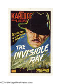 "Movie Posters:Horror, The Invisible Ray (Realart, R-1950). One Sheet (27"" X 41""). BorisKarloff stars as Janos Rukh, a scientist who experiments w..."