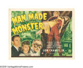 "Movie Posters:Horror, Man Made Monster (Universal, 1941). Title Lobby Card (11"" X 14"").Both filmed in 1941, ""Man-Made Monster"" first teamed many ..."