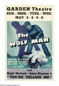 "Movie Posters:Horror, The Wolf Man (Universal, 1941). Window Card (14"" X 22""). ""Even aman who is pure in heart and says his prayers by night, may..."