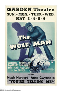 """The Wolf Man (Universal, 1941). Window Card (14"""" X 22""""). """"Even a man who is pure in heart and says his pr..."""