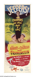 "Movie Posters:Horror, Abbott and Costello Meet Frankenstein (Universal, 1948). Insert (14"" X 36""). Someone at Universal had the brilliant idea of ..."