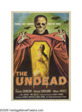 "Movie Posters:Horror, The Undead (AIP, 1957). Poster (40"" X 60""). The king of the drive-in horror movies, Roger Corman, made this classic horror f..."