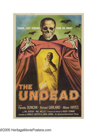 "The Undead (AIP, 1957). Poster (40"" X 60""). The king of the drive-in horror movies, Roger Corman, made this cl..."