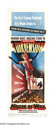 """House of Wax (Warner Brothers, 1953). Insert (14"""" X 36""""). Warner Brothers' first venture into 3-D technology a..."""