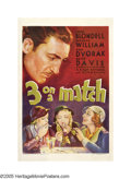 "Movie Posters:Drama, 3 on a Match (Warner Brothers, 1932). One Sheet (27"" X 41""). Threeschoolgirl friends reunite ten years after graduating to ..."