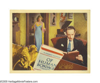 """Of Human Bondage (RKO, 1934). Lobby Card (11"""" X 14""""). Leslie Howard and Bette Davis star in this tale of woe..."""