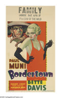 "Movie Posters:Crime, Bordertown (Warner Brothers, 1935). Midget Window Card (8"" X 14"").Bette Davis followed up her break-out performance in ""Of ..."