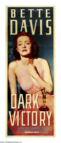 "Movie Posters:Drama, Dark Victory (Warner Brothers, 1939). Insert (14"" X 36""). There aretear-jerkers and then there is Bette Davis in ""Dark Vict..."