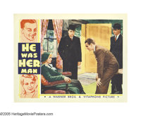 "He Was Her Man (Warner Brothers, 1934). Lobby Cards (2) (11"" X 14""). James Cagney portrays a gangster hell-ben..."
