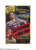 "Movie Posters:Action, Superman and the Mole Men (Lippert, 1951). One Sheet (27"" X 41"").Superman's first feature-length adventure, this film prove..."