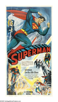 "Superman (Columbia, 1948). Three Sheet (41"" X 81""). After a long, ten-year wait, Superman finally leapt from c..."