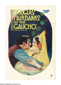 "The Gaucho (United Artists, 1927). One Sheet (27"" X 41""). In this dark tale, Douglas Fairbanks takes a differe..."