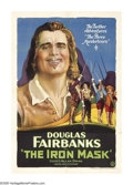 "Movie Posters:Adventure, The Iron Mask (United Artists, 1929). One Sheet (27"" X 41"").Directed by Allan Dwan, this was screen star Douglas Fairbanks'..."