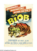 "Movie Posters:Science Fiction, The Blob (Paramount, 1958). Poster (40"" X 60""). Steven McQueen madehis big screen debut, as so many other actors did, by ap..."