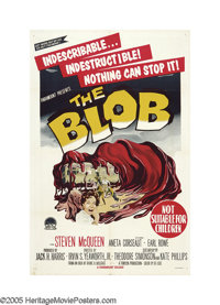 "The Blob (Paramount, 1958). Australian One Sheet (27"" X 40""). Steve McQueen had only a few uncredited roles un..."