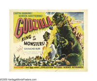 "Godzilla (Toho, 1956). Half Sheet (22"" X 28"") Style B. Oh, no, there goes Tokyo, there goes Godzilla! The King..."