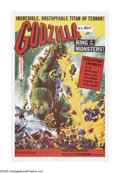 "Movie Posters:Science Fiction, Godzilla (Toho, 1956). One Sheet (27"" X 41""). Godzilla, the King of the Monsters, stomped his way across American movie scre..."