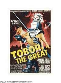 "Tobor the Great (Republic, 1954). One Sheet (27"" X 41""). This poster is one of the three great ""robot car..."