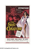 "Movie Posters:Science Fiction, The She-Creature (American International, 1956). One Sheet (27"" X41""). A hypnotist (Chester Morris), doing a show in a nigh..."