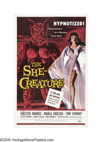 "The She-Creature (American International, 1956). One Sheet (27"" X 41""). A hypnotist (Chester Morris), doing a..."