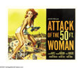 "Movie Posters:Science Fiction, Attack of the 50 Foot Woman (Allied Artists, 1958). Half Sheet (22""X 28""). When Allison Hayes gets abducted by a spaceship,..."