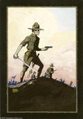 Original Comic Art:Sketches, Edgar Church - World War I Painted Illustration Original Art(1917). Edgar Church's name is venerated by comic collectors. H...