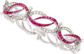 Estate Jewelry:Bracelets, Ruby, Diamond, Platinum Bracelet, Oscar Heyman Bros.. ...