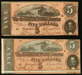 Confederate Notes, T69 $5 1864 PF-10; PF-11.. ... (Total: 2 notes)
