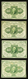 Fractional Currency, Fr. 1242 10¢ First Issue Extremely Fine or better. Four Examples.. ... (Total: 4 notes)
