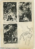 Original Comic Art:Sketches, Virgil Finlay - William Shakespeare Figure/Background Study Original Art (circa 1935). Drawn in ink on spiral-bound sketchbo...