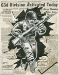 Original Comic Art:Sketches, Gill Fox - Blood and Fire V2#1 Newspaper Illustration Original Art (Blood and Fire, 1943). As a staff cartoonist for the off... (2 items)