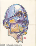 """Original Comic Art:Sketches, Kelly Freas - Robot Head Illustration Original Art (undated). Ink marker and colored pencil on paper, 7.5"""" x 9.5"""", signed at..."""