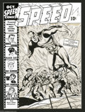 Original Comic Art:Covers, Jack Kirby - Speed Comics #23 Original Cover Art (Harvey, 1942).This World War II era Jack Kirby cover shows Harvey's respo...