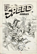 Original Comic Art:Covers, Rudy Palais - Speed Comics #39 Cover Original Art (Harvey, 1945).Captain Freedom and the Black Cat apply their own particul...