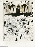 Original Comic Art:Covers, Fred Ray and Jerry Robinson - Batman #11 Cover Original Art (DC,1942). With a surreal, hard-hitting battle between the Clow...