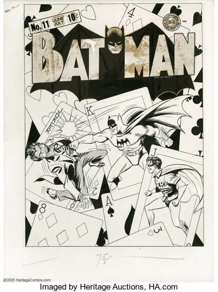 Fred Ray and Jerry Robinson - Batman #11 Cover Original Art (DC, 1942). With a surreal, hard-hitting battle between the Clow...