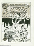 Original Comic Art:Covers, Fred Ray - Action Comics #45 Cover Original Art (DC, 1942). Thisrousing scene recalls the dynamism of Superman's first crim...