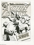"Original Comic Art:Covers, Fred Ray - Action Comics #51 Cover Original Art (DC, 1942). Armed only with a squirt gun and a ""foolproof plot,"" the Prankst..."
