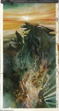 Original Comic Art:Miscellaneous, Science Fiction Landscape Animation Background Painting OriginalArt (undated). A panoramic scene of a city built deep withi...