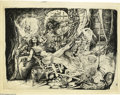Original Comic Art:Splash Pages, Tom Sutton - Conan and Red Sonja Pin Up Original Art (undated). Conan plies Red Sonja with wine and jewels after slaying the...