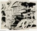 Original Comic Art:Sketches, Wally Wood - Pulp Illustration Original Art (undated). A gorgeous Wally Wood fantasy femme rides a double-headed dragon ...