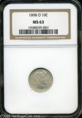 """Barber Dimes: , 1898-O 10C MS63 NGC. The current Coin Dealer Newsletter (Greysheet)wholesale """"bid"""" price is $875.00...."""