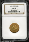 Liberty Half Eagles: , 1866 $5 AU58 NGC. The premier With Motto Half Eagle and anextremely scarce issue from an output of just 6,700 business str...