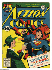Action Comics #51 (DC, 1942) Condition: VG. First appearance of the Prankster. Fred Ray cover. Ray, Mort Meskin, Bernard...